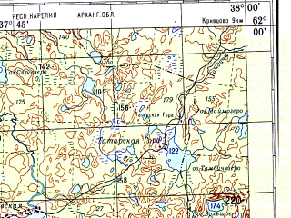 Reduced fragment of topographic map ru--gs--200k--p37-19_20--N062-00_E036-00--N061-20_E038-00; towns and cities Pudozh, Kubovskaya, Shal'skiy, Steshevskaya