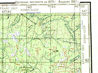 Reduced fragment of topographic map ru--gs--200k--p38-03_04--N064-00_E044-00--N063-20_E046-00; towns and cities Shuyga, Verkola, Yavzoro