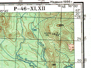 Reduced fragment of topographic map ru--gs--200k--p46-11_12--N063-20_E094-00--N062-40_E096-00