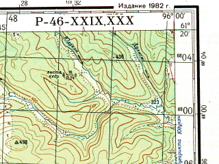 Reduced fragment of topographic map ru--gs--200k--p46-29_30--N061-20_E094-00--N060-40_E096-00