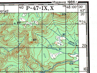Reduced fragment of topographic map ru--gs--200k--p47-09_10--N063-20_E098-00--N062-40_E100-00