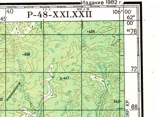 Reduced fragment of topographic map ru--gs--200k--p48-21_22--N062-00_E104-00--N061-20_E106-00