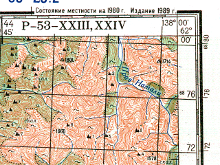 Reduced fragment of topographic map ru--gs--200k--p53-23_24--N062-00_E136-00--N061-20_E138-00; towns and cities Khara-tit