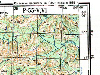 Reduced fragment of topographic map ru--gs--200k--p55-05_06--N064-00_E148-00--N063-20_E150-00