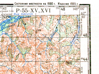 Reduced fragment of topographic map ru--gs--200k--p55-15_16--N062-40_E146-00--N062-00_E148-00; towns and cities Imeni Mariny Raskovoy, Loshkalakh