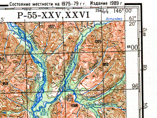 Reduced fragment of topographic map ru--gs--200k--p55-25_26--N061-20_E144-00--N060-40_E146-00; towns and cities Novyy Kheydzham