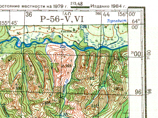 Reduced fragment of topographic map ru--gs--200k--p56-05_06--N064-00_E154-00--N063-20_E156-00; towns and cities Balygychanskiy, Balygychan