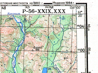 Reduced fragment of topographic map ru--gs--200k--p56-29_30--N061-20_E154-00--N060-40_E156-00; towns and cities Tumany