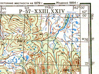 Reduced fragment of topographic map ru--gs--200k--p57-23_24--N062-00_E160-00--N061-20_E162-00; towns and cities Severa, Topolovka, Chaybukha