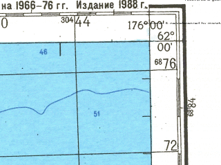 Reduced fragment of topographic map ru--gs--200k--p60-19_20--N062-00_E174-00--N061-20_E176-00; towns and cities Melyuveyem