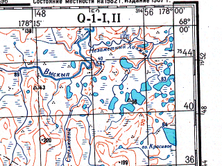 Reduced fragment of topographic map ru--gs--200k--q01-01_02--N068-00_W180-00--N067-20_W178-00; towns and cities Iul'tin, Tul'tin