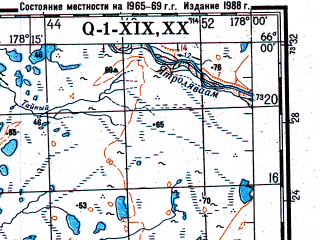 Reduced fragment of topographic map ru--gs--200k--q01-19_20--N066-00_W180-00--N065-20_W178-00; towns and cities Uel'kal'