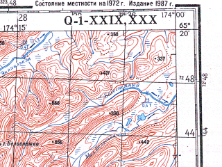Reduced fragment of topographic map ru--gs--200k--q01-29_30--N065-20_W176-00--N064-40_W174-00 in area of Ozero Accen; towns and cities Nunligran
