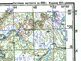 Reduced fragment of topographic map ru--gs--200k--q39-19_20--N066-00_E048-00--N065-20_E050-00