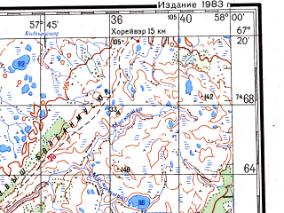Reduced fragment of topographic map ru--gs--200k--q40-09_10--N067-20_E056-00--N066-40_E058-00; towns and cities Kacha