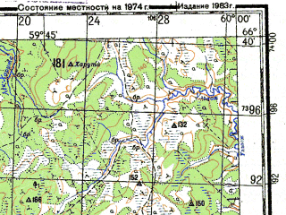 Reduced fragment of topographic map ru--gs--200k--q40-17_18--N066-40_E058-00--N066-00_E060-00; towns and cities Adak, Adzvavom, Makarikha