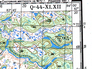 Reduced fragment of topographic map ru--gs--200k--q44-11_12--N067-20_E082-00--N066-40_E084-00 in area of Ozero Sovetskoe; towns and cities Lysomarra, Sdovetskaya Rechka