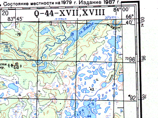 Reduced fragment of topographic map ru--gs--200k--q44-17_18--N066-40_E082-00--N066-00_E084-00; towns and cities Munguv, Sidorovsk, Taz