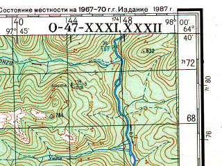 Reduced fragment of topographic map ru--gs--200k--q47-31_32--N064-40_E096-00--N064-00_E098-00