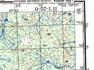 Reduced fragment of topographic map ru--gs--200k--q57-01_02--N068-00_E156-00--N067-20_E158-00; towns and cities Bystraya, Chernyy Mys, Pomazkino