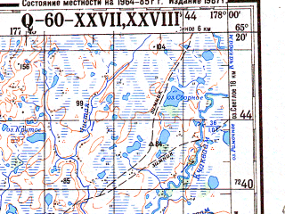 Reduced fragment of topographic map ru--gs--200k--q60-27_28--N065-20_E176-00--N064-40_E178-00; towns and cities Anadyr', Shakhterskiy, Kanchalan, Leninka, Tavayvaam