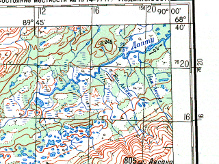 Reduced fragment of topographic map ru--gs--200k--r45-35_36--N068-40_E088-00--N068-00_E090-00