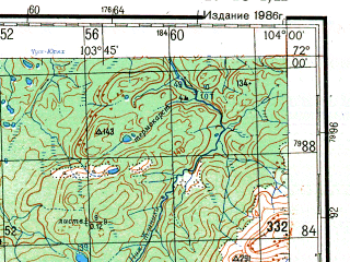Reduced fragment of topographic map ru--gs--200k--r48-01_02--N072-00_E102-00--N071-20_E104-00; towns and cities Kayak, Khatanga, Kresty