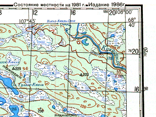 Reduced fragment of topographic map ru--gs--200k--r48-35_36--N068-40_E106-00--N068-00_E108-00; towns and cities Put Lenina