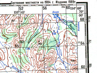 Reduced fragment of topographic map ru--gs--200k--r53-19_20--N070-00_E132-00--N069-20_E134-00; towns and cities Namy, Sayylyk, Tomtor