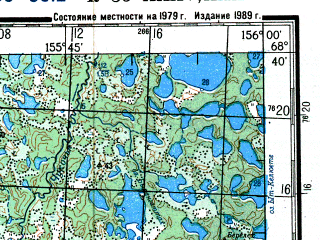 Reduced fragment of topographic map ru--gs--200k--r56-35_36--N068-40_E154-00--N068-00_E156-00; towns and cities Keltyagey, Oyusardakh, Tala-kyuyel