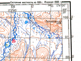 Reduced fragment of topographic map ru--gs--200k--r59-29_30--N069-20_E172-00--N068-40_E174-00; towns and cities Komsomolskiy