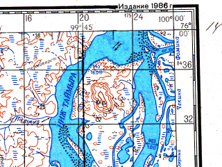 Reduced fragment of topographic map ru--gs--200k--s47-03_04--N076-00_E098-00--N075-20_E100-00