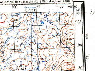 Reduced fragment of topographic map ru--gs--200k--s47-13_14--N074-40_E096-00--N074-00_E098-00