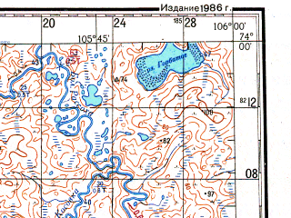 Reduced fragment of topographic map ru--gs--200k--s48-21_22--N074-00_E104-00--N073-20_E106-00