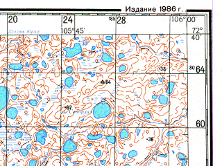 Reduced fragment of topographic map ru--gs--200k--s48-33_34--N072-40_E104-00--N072-00_E106-00; towns and cities Oboynaya