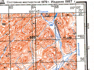 Reduced fragment of topographic map ru--gs--200k--s49-07_08--N075-20_E108-00--N074-40_E110-00