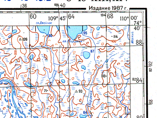 Reduced fragment of topographic map ru--gs--200k--s49-13_14--N074-40_E108-00--N074-00_E110-00