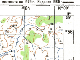 Reduced fragment of topographic map ru--gs--200k--xc33-34--S011-20_E015-00--S012-00_E016-00; towns and cities Cassongue, Cela, Nungulo