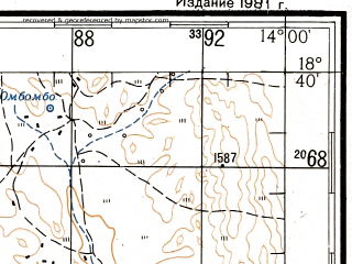 Reduced fragment of topographic map ru--gs--200k--xe33-26--S018-40_E013-00--S019-20_E014-00; towns and cities Okahwa, Ombombo, Otjozongombe