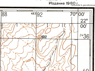 Reduced fragment of topographic map ru--gs--200k--xf19-20--(1980)--S022-00_W071-00--S022-40_W070-00; towns and cities Tocopilla