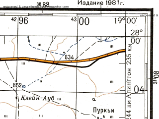 Reduced fragment of topographic map ru--gs--200k--xh34-01--S028-00_E018-00--S028-40_E019-00; towns and cities Haib Rhenish Mission