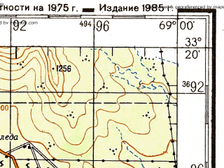 Reduced fragment of topographic map ru--gs--200k--xi19-15--(1985)--S033-20_W070-00--S034-00_W069-00; towns and cities Tunuyan, La Consulta, Eugenio Bustos, Pareditas, San Carlos