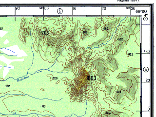Reduced fragment of topographic map ru--gs--500k--a19-2--N004-00_W069-00--N002-00_W066-00 in area of Rio Guainia, Rio San Miguel; towns and cities Juan, Pueblo Viejo, Comunidad
