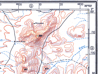 Reduced fragment of topographic map ru--gs--500k--a36-4--N002-00_E033-00--N000-00_E036-00 in area of Lake Bisiria; towns and cities Eldoret, Yala, Budaka, Molo