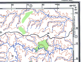 Reduced fragment of topographic map ru--gs--500k--b19-3--N006-00_W072-00--N004-00_W069-00 in area of Rio Cravo Sur; towns and cities Cajarauli, Guasimai, Orocue