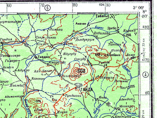 Reduced fragment of topographic map ru--gs--500k--b30-1--N008-00_W006-00--N006-00_W003-00 in area of Lac De Taabo; towns and cities Bouake, Gagnoa, Yamoussoukro, Dimbokro, Abengourou