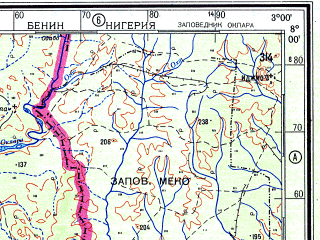 Download topographic map in area of Cotonou Lome Portonovo