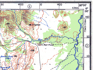 Reduced fragment of topographic map ru--gs--500k--b36-4--N006-00_E033-00--N004-00_E036-00; towns and cities Karakamuge, Logirim, Bambu