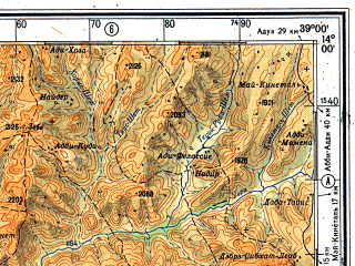 Reduced fragment of topographic map ru--gs--500k--d37-3--(1981)--N014-00_E036-00--N012-00_E039-00; towns and cities Bahita, Gwada, Bilbaho