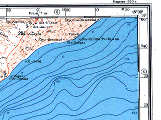 Reduced fragment of topographic map ru--gs--500k--d38-4--(1980)--N014-00_E045-00--N012-00_E048-00; towns and cities Jaar, Al Hamiyah, Al Hanad